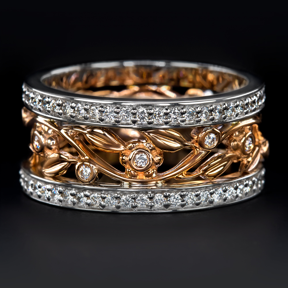 Vine Diamond wedding band solid 14k yellow gold FULL eternity ring engagement ring stacking matching band whiterose gold floral antique