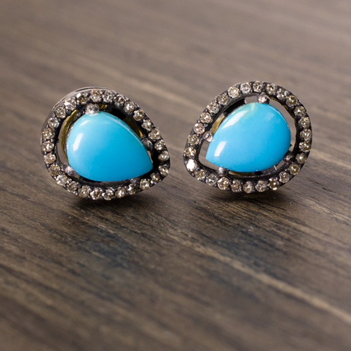 Turquoise Diamond Halo Stud Earrings Pear Shape Natural Vivid Blue